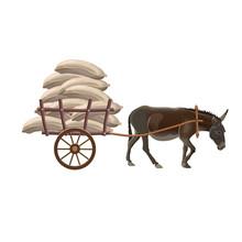 Donkey Cart With Sacks