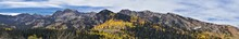 Guardsman Pass Views Of Panoramic Landscape Of The Pass From The Brighton Side By Midway And Heber Valley Along The Wasatch Front Rocky Mountains, Fall Leaf Forests Bright Orange And Yellow Colors. Ut