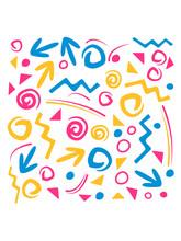 Formen Symbole Muster Text 90er Bunt 90s Neunziger Jahre Retro Cool Funky Style Logo Design Geburtstag Geschenk Party Feiern Jahrgang Jahrzehnt
