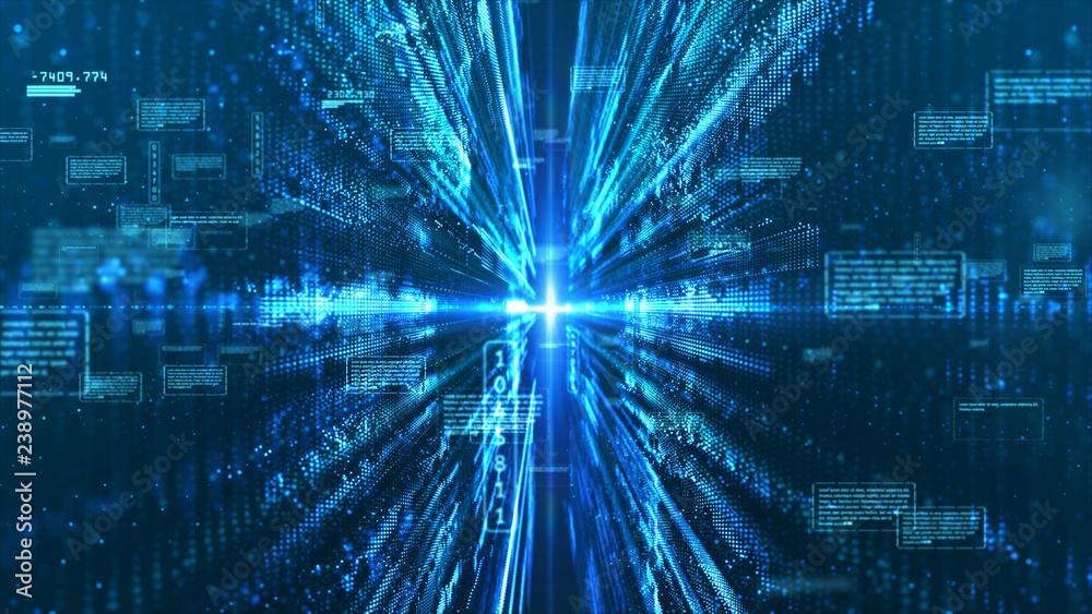 Fototapeta Hi-Tech digital display holographic information abstract background
