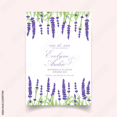 Floral Wedding Invitation Card Template Design With Lavender