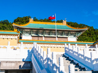 Beautiful architecture building exterior of national palace museum in taipei taiwan