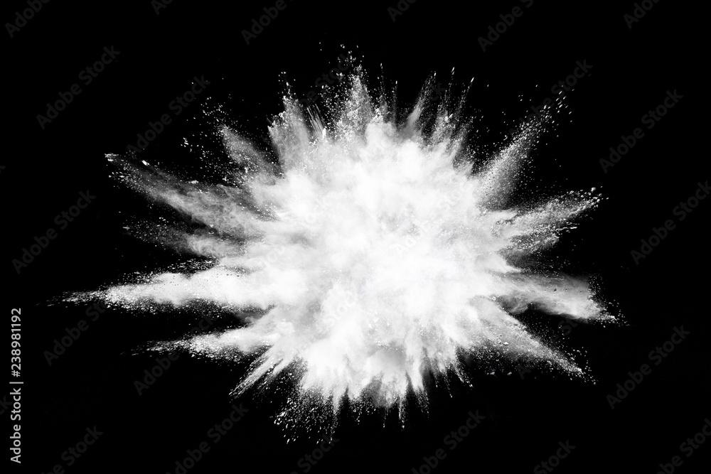 Fototapety, obrazy: White powder explosion on black background.