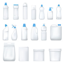 Mock Up Plastic Bottle And Packge. Set Of Realistic Detergent Product. Household Chemicals. Vector.