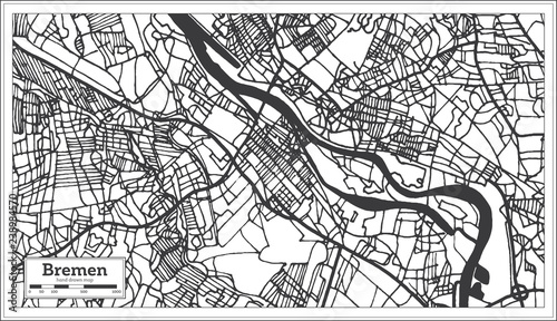 Bremen Germany City Map in Retro Style. Outline Map. - Buy ...