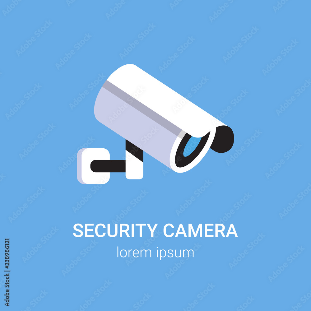 Fototapeta CCTV surveillance system security camera monitoring equipment on wall professional guard concept blue background flat copy space