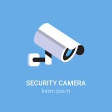 CCTV Surveillance System Security Camera Monitoring Equipment On Wall Professional Guard Concept Blue Background Flat Copy Space