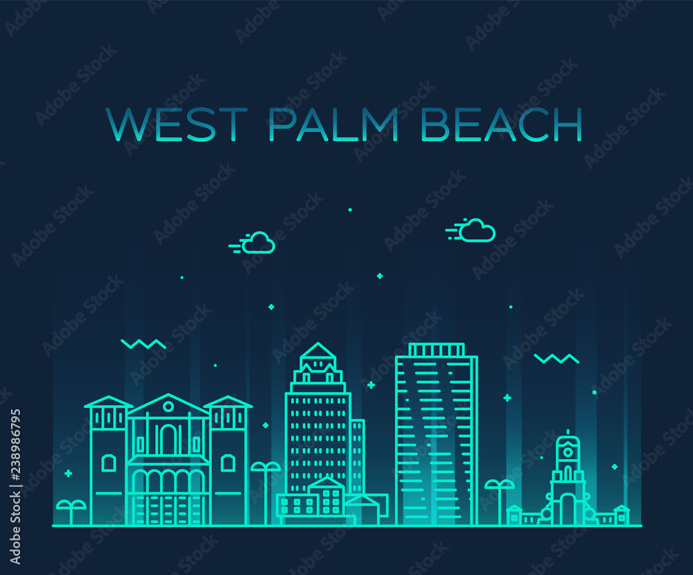 West Palm Beach skyline Florida USA vector linear <span>plik: #238986795 | autor: Alexandr Bakanov</span>