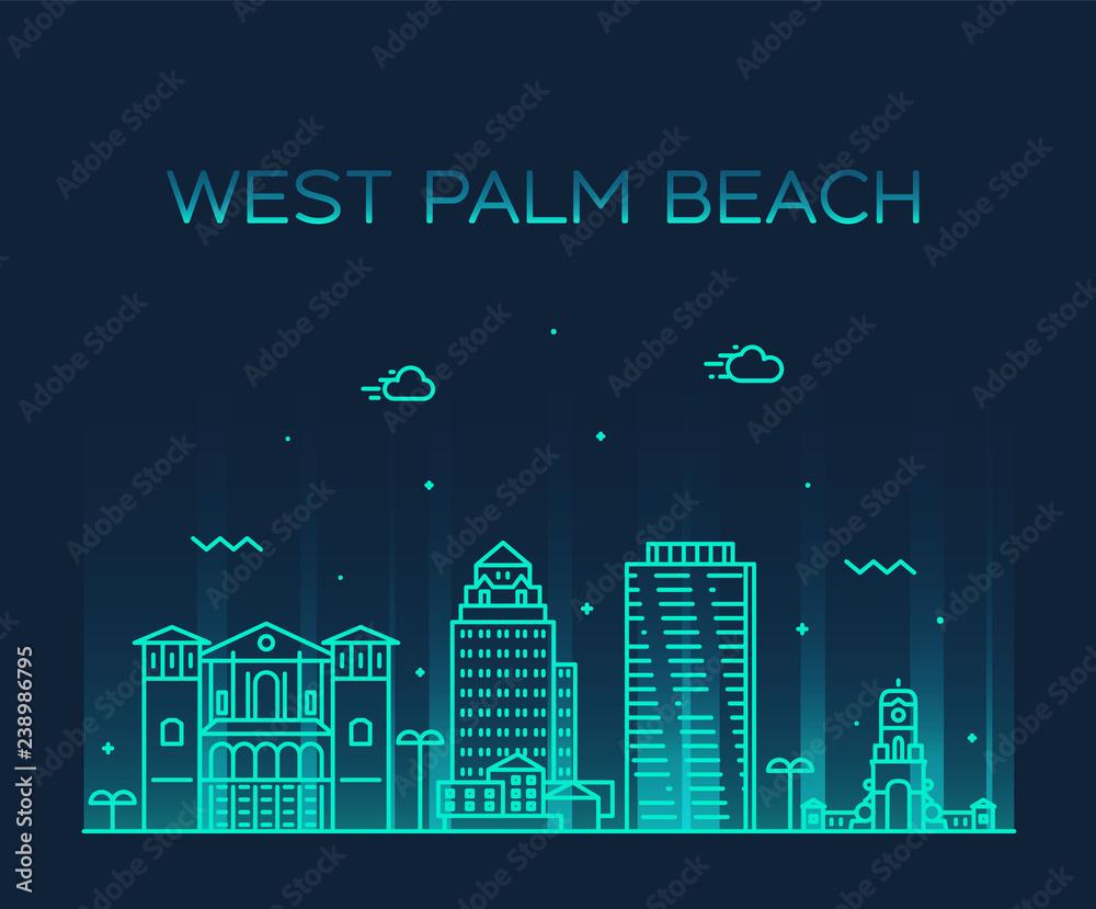 West Palm Beach skyline Florida USA vector linear