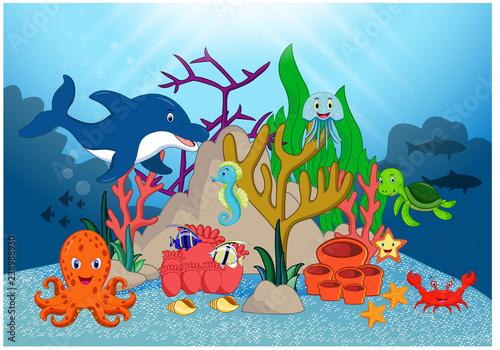 Poster Magic world Beautiful Underwater World Cartoon