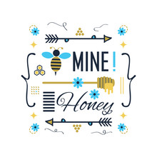 Blue And Golden Cute Bee Mine Honey Message With Symbols Set Poster On White Background