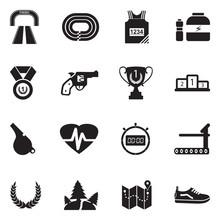 Running Icons. Black Flat Desi...