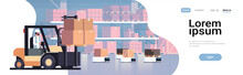 Man Driving Forklift Loader Pallet Truck Warehouse Robot Car Parcel Box Delivery Logistic Transport Concept Industrial Goods Storage Room Interior Horizontal Copy Space