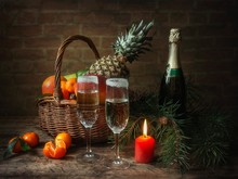 New Year Still Life With Fruits And Champagne