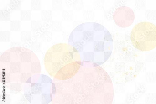 Fotografie, Obraz  和紙と市松模様の背景素材(パステルカラー)
