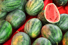 Watermelon In The Markets / Fresh Watermelons Fruit Harvested From The Garden For Sale