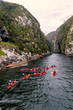 canvas print picture - Group kayaking in river canyon in Knysna, South Africa