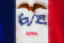 Mosaic Heart Tiles Painting Of Iowa Flag Blown In The Wind, Love State Patriotic Concept.