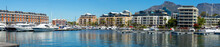 Cape Town Harbour Panoramic View With Yachts And Boats And Luxury Apartment Buildings