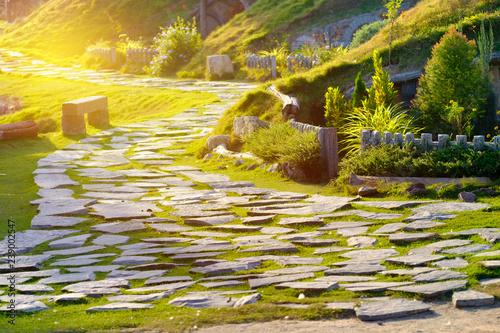 Photo  Stone pathway with beautiful sunlight