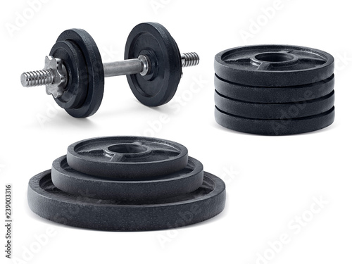 Fotografia  The metal dumbbell and weights isolated on white background