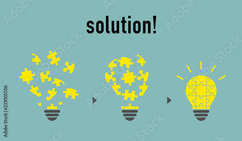 Fotografie, Obraz  Puzzle light bulb -solution image-
