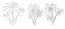 Hand Drawn Set Of Fireworks.