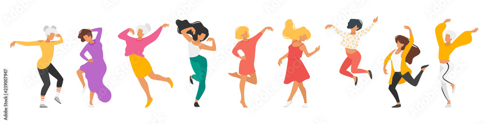 Fototapety, obrazy: Dancing people silhouette