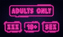 Set Of Neon Signs, Adults Only...