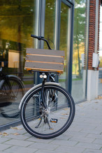 Black Bike With A Wooden Box P...