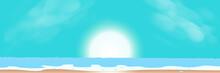 Sunrise, Sea, Sky And Beach Summer Season Abstract Background Vector Illustration, Long Horizontal Style