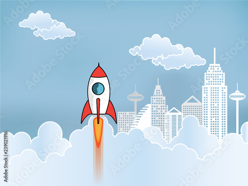 Startup And Business Ideas With Rocket Flies Up To The Sky Design