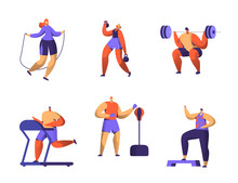 Gym Fitness Character Set. Sport Cardio Workout Man And Woman Figure Collection. Healthy Aerobic Weightlifter, Boxer Athlete Trainer Flat Vector Illustration