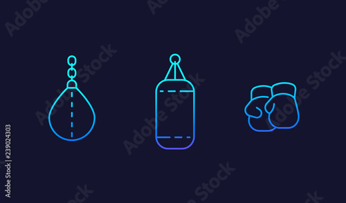 Photo  Boxing gloves, punching bags vector line icons