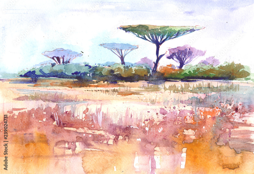 Obraz African landscape. Savana. Watercolor illustration fototapeta, plakat