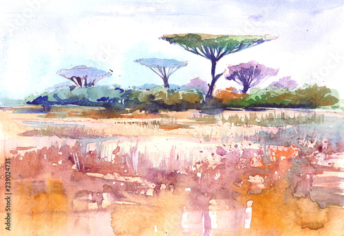 Poster Blanc African landscape. Savana. Watercolor illustration