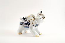 White Glass Elephant Figurine