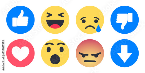 Photo Set of flat emoticons and emojis for web design
