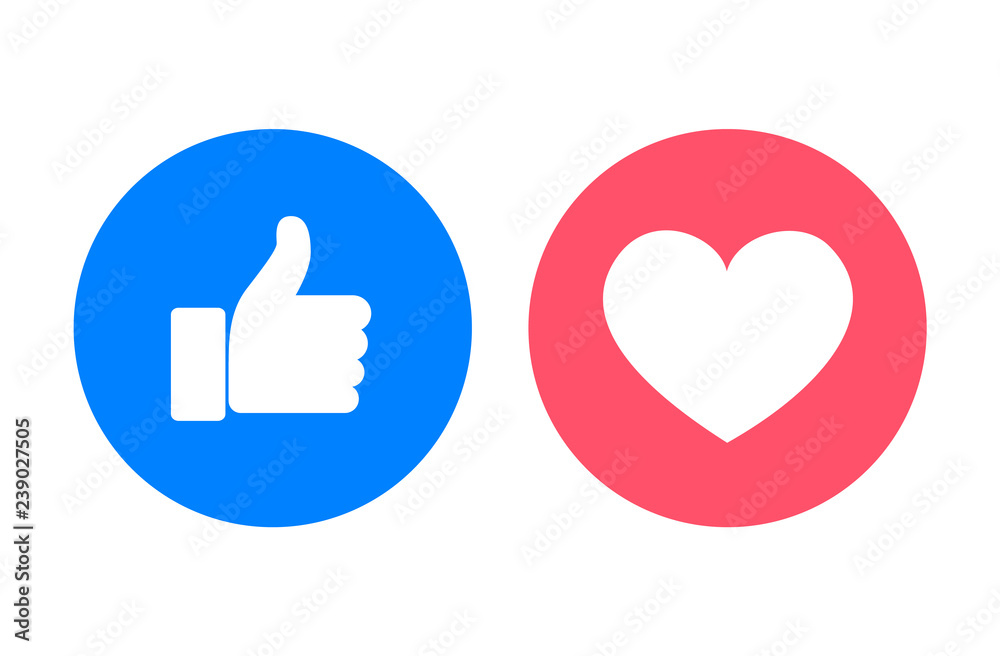 Fototapeta Thumb up and heart icons, vector illustration