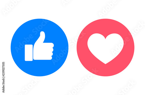 Thumb up and heart icons, vector illustration Canvas Print