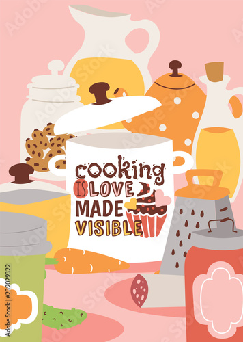 kulinarni-urzadzenia-i-kuchenna-naczynie-wektoru-ilustracja-gotowanie-to-widoczny-plakat-milosci-sloik-z-sokiem-sloik-z-ciasteczkami-puszki-tarka-olej-marchew-ogorek-kielbasa