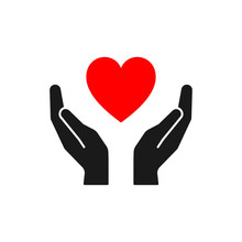 Isolated Icon Of Red Heart In Black Hands On White Background. Silhouette Of Heart And Hands. Symbol Of Care, Love, Charity.