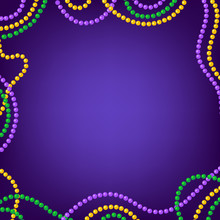 Mardi Gras Carnival Background With Colorfull Yellow, Purple, Green Beads Frame. Vector Illustration Isolated On Purple.