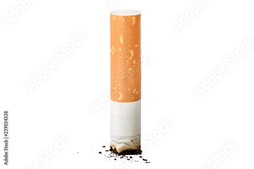Fotografija  A cigarette burn isolated at the white background