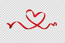 Red Heart Ribbon Isolated On T...