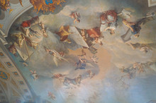The Paintings On The Ceiling In One Of The Rooms Of The Catherine S Palace In Pushkino In St. Petersburg