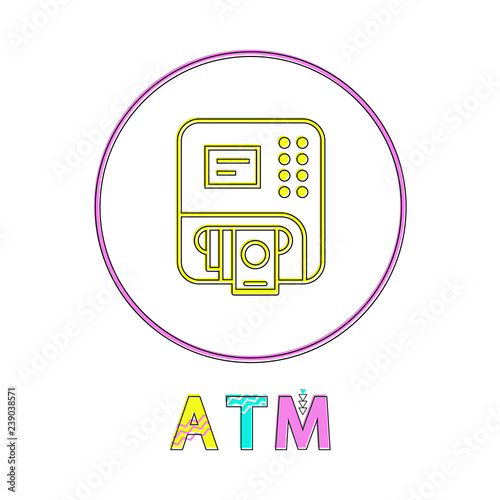 ATM Round Linear Button Template for Online App - Buy this