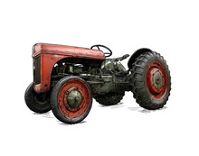 Old Vintage Red Tractor Illustration In Cartoon Or Comic Style. Tractor Was Made In Dearborn, Michigan, United States Or USA From 1939 To 1942 Or 30's To 40's.