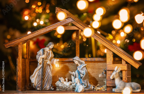 Fotografie, Obraz Christmas nativity scene; Jesus Christ, Mary and Joseph