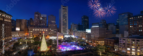 Union Square New Year tree in San Francisco night panorama